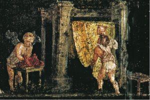 Dettaglio del fregio erotico con scena di un laboratorio di stoffa nella Casa di Vettier, Regio VI 15, 1.27 (Oecus q) a Pompei.Foto da Ranieri Panetta 2004