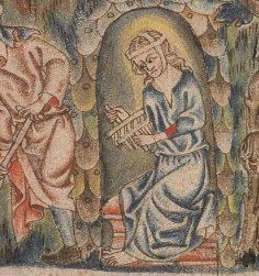 Particolare con cardatrice. Bibbia Holkham (Brit. Lib. Add. 47682, fol. 6r), c. 1327-1335