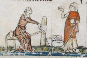 Pettini per cardare. The Smithfield Decretals (Brit. Lib. Royal 10 E IV), c. 1300-1340_ F138V