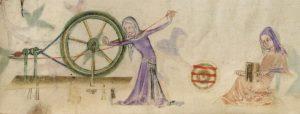 Cardatura e filatura. The Luttrell Psalter (Brit. Lib. Add. 42130, fol. 193r), c. 1325-1340_F193R