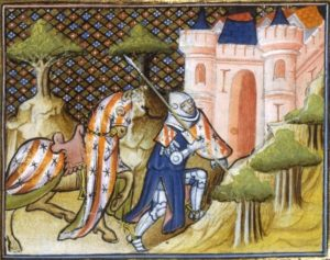 Ailettes 1407 France. BNF Arsenal 3479 Legends of the Holy Grail - Folio 523. Bibliothèque Nationale