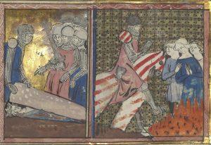 Ailettes 1300-1350 France. BNF Arsenal 3481 Ci commence li livres de Lancelot du Lac- Folio 278r, Bibliothèque Nationale, France