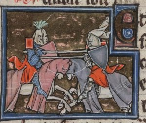 Ailettes 1275-1300 France .Beinecke MS.229 Arthurian Romances- Folio 178r - Yale University