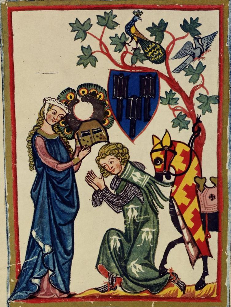 Ailettes. 1300-1340 Codex Manesse - Folio 82v - UBH Cod. Pal. germ. 848 - FromZürich, Switzerland- Heidelberg University Library